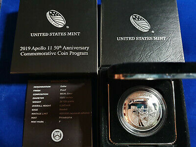 2019 P Apollo 11 50th Anniversary Curved $1 Coin PROOF Silver Dollar