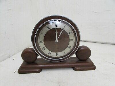 Art Deco Metamec Electric Wooden Mantle Clock For Repair