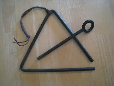 Vintage Hand-Forged Cast Iron Dinner Bell Triangle w/Ringer, leather hanger