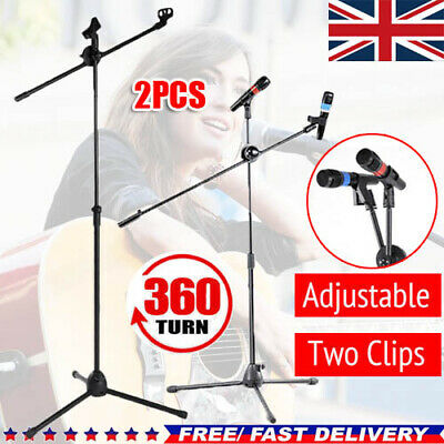 Professional Boom Microphone Mic Stand Holder Adjustable With Free Clips New