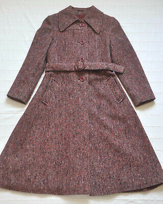 70er Jahre lang Tweed Cape wolle Mantel Wintermantel rot