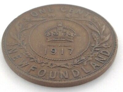 1917 Newfoundland Canada One 1 Cent Large Penny Circulated George V Coin K992