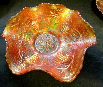 """Hard To Find Fenton Carnival Glass """"Concord Grape"""" 9"""" Marigold Bowl – Very Nice"""