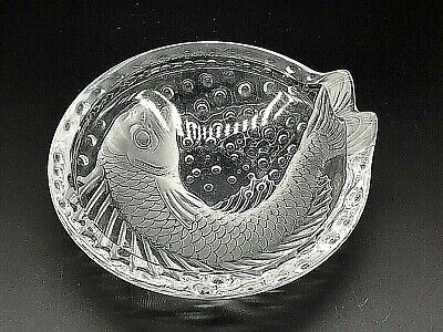 """Frosted Crystal Lalique Concarneau Koi Fish 6 """" Trinket Bowl Ashtray signed"""
