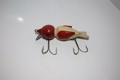 Hand Made Fishing Lure A Red And White Bird Wood Glass Eyes Unique