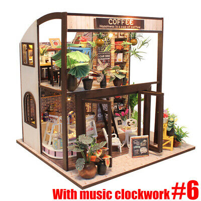 Handcraft DIY Wooden Toy Dollhouse Miniature Kit Music W/ Furniture LED