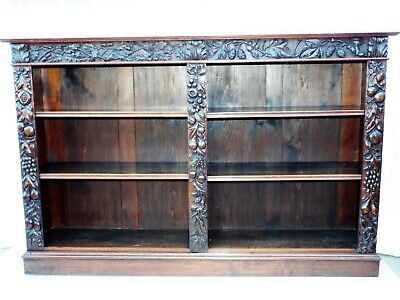 Lovely Quality Solid Walnut Victorian Carved Open Front Bookcase HOPS