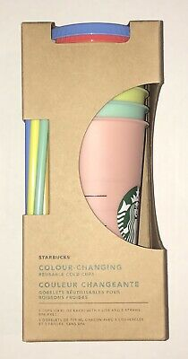 Starbucks Color Changing Reusable Cold Cups Pack of 5 w/ Lids & Straws 24 oz