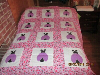 Pretty Lady Bug  Appliqued  Quilt Top New  8/2019