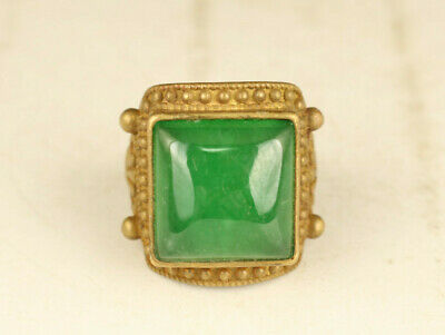 Rare Copper & Jadeite Jade  Green Beads Handwork Ring noble gift