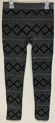Girls Faded Glory Fashion Legging Gray Black Striped Geometric Pants Large 12-16