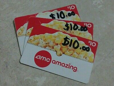 *** 3 AMC THEATERS $10 GIFT CARDS*** Total value of $30!
