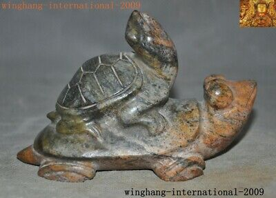 Rare Chinese Hetian Old jade carved longevity animal twin turtle tortoise statue