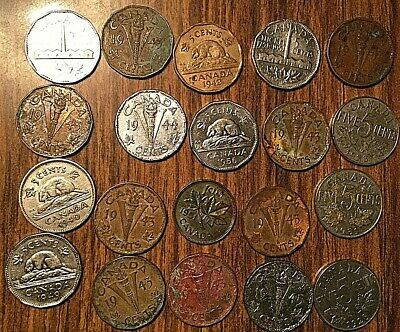 Lot Of 20 Canada Small Cent 5 Cents Lot Of 20 Coins