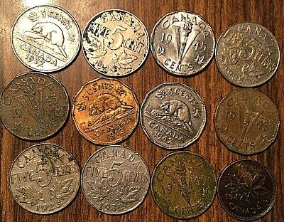 Lot Of 12 Canada Small Cent 5 Cents Lot Of 12 Coins