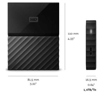 WD My Passport Portable 2TB Black External Hard Drive by Western Digital
