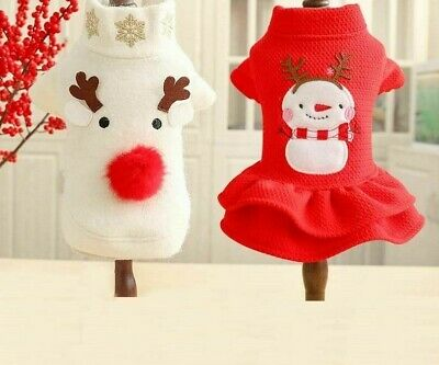 Christmas Dog Couple Clothes Shirt Holiday Pet Accessories Costume Cloth Garment