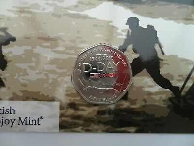 50 PENCE 2019 GIBRALTAR 75th Anniversary of D-Day LIMITED EDITION of 7,500