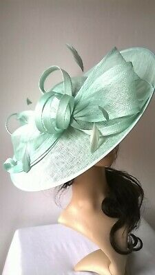 New Mint Sorbet Sinamay Bow Hatinator.hat.Large saucer disc Wedding.races.