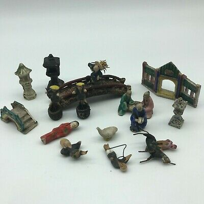 Antique Chinese Ming Dynasty 17th/18th century mudman etc miniatures