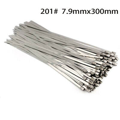 """12"""" 100pcs Stainless Steel Cable Cord Zip Tie Safety Self Lock Secure Set 300mm"""