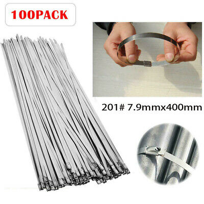 16'' Cable Ties Stainless Steel Zip Lock Heavy Duty Wrap Wire 100pcs 201 Grade