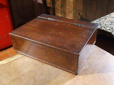 ANTIQUE MAHOGANY DESK TOP STATIONERY BOX with hinged lid and inside compartments