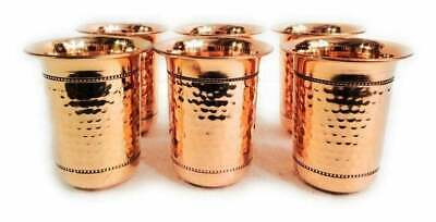 Indian Handmade Hand Hammered Pure Copper Drink ware Glass Set.
