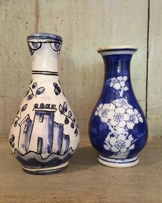Pair Of VINTAGE BEAUTIFUL BLUE AND WHITE  BUD VASES ~ Chinese blossom vase