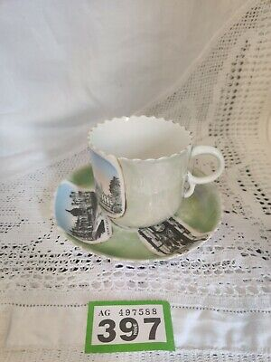 Victorian Lustre China Cup & Saucer Depicting Cambridge