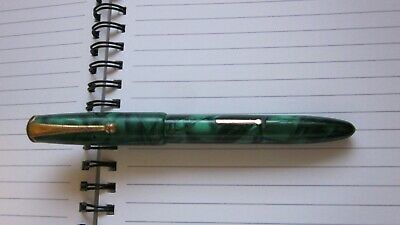 Vintage ONOTO The Pen No 50 Made In Australia Green Marbled 14CT 15.