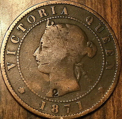 "1871 PEI LARGE CENT PENNY - Counterstamped ""2"""