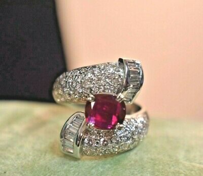 Fine Estate $9500 14k white gold 4.3ct natural ruby diamond large ring sz 7.5