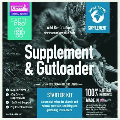 Arcadia EarthPro Starter Kit, EarthPro-A, CalciumPro-Mg, ShedSupport, InsectFuel