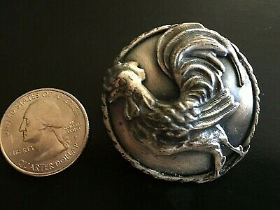 """Antique Vintage Large SILVER Metal ROOSTER Button ~ Approx 1 3/4"""" Nice!"""