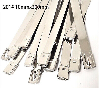 8'' Cable Ties Stainless Steel Wrap Silver Cable Zip Wire Self-Locking 100pcs