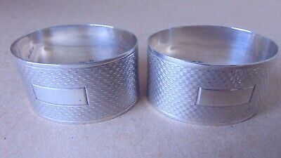 Excellent Beautiful Pair Sterling Silver Engine Turned Oval Napkin Rings 1954