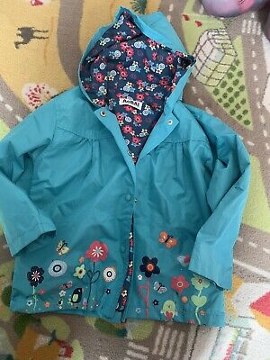Girls 3-4 Years Jacket Waterproof Floral Mint
