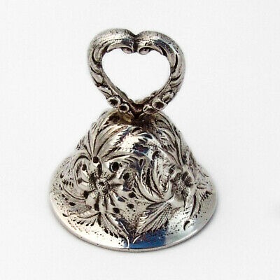 Repousse Floral Tea Bell Hand Decorated Kirk Sterling Silver 1930