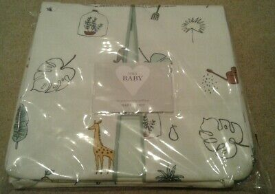 M&S Baby Nappy Tidy Cream with Mint Green Trim and Multicoloured Print