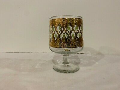Culver Valencia Candy Dish / Goblet 22k Gold and Emerald Green