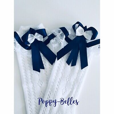 Handmade navy bows & lace frilly knee high girls socks