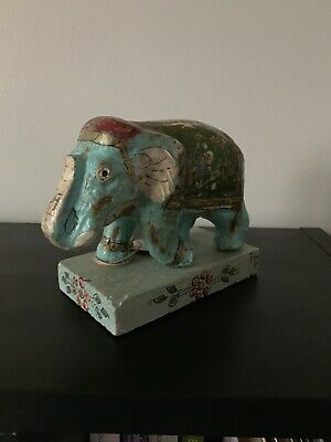 Indian Wooden Elephant  with hand painted GH 264