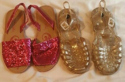 Two pairs New Sandals kids girls Uk1 pink / BNWT gold jelly sandals bundle