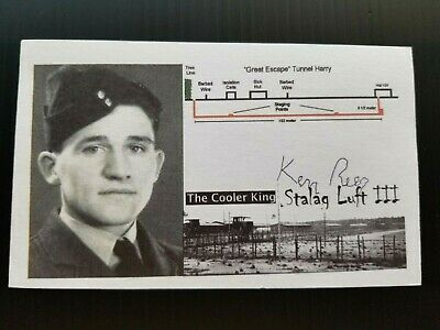 KEN REES STALAG 3 PRISON CAMP WW2 THE GREAT ESCAPE Autographed 3x5 Index Card B