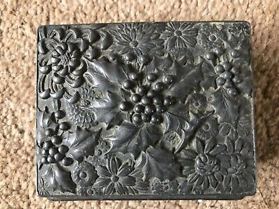 Victorian Embossed Holly & Flowers Patinated Bronze or Brass Small Hinged Lidded