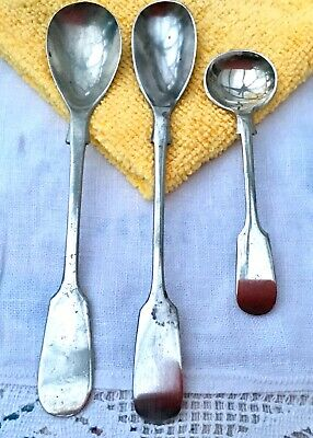 ANTIQUE MUSTARD SALT FIDDLE SPOON x3 POTOSI - AFGHAN - NEVADA SILVER BIRMINGHAM