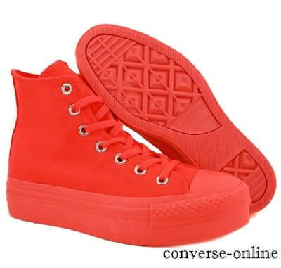 Womens Girls CONVERSE All Star PLATFORM HIGH TOP ORANGE Trainers Boots SIZE UK 4