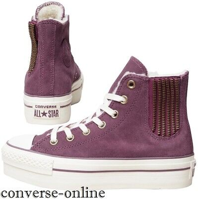 Womens CONVERSE All Star PLATFORM PURPLE SUEDE HIGH TOP Trainers Boots SIZE UK 6
