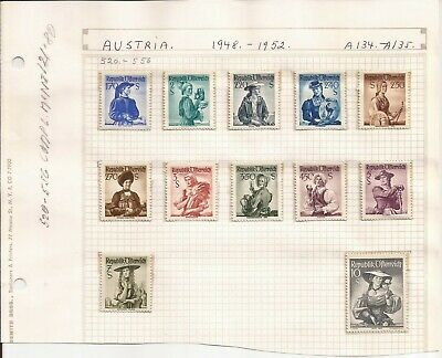 AUSTRIA-ACCUMULATION OF STAMPS ON PAGES( MNH/HINGED/UNUSED) 1948-60s